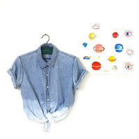 acid dipped two toned denim shirt by napkinitems on Etsy