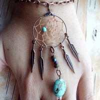 Turquoise Bohemian Dreamcatcher Slave Bracelet by PurpleFinchStore