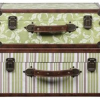 One Kings Lane - Creative Co-Op - S/2 Canvas & Wood Suitcases