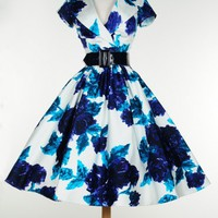 Birdie Dress in Vintage Blue Rose