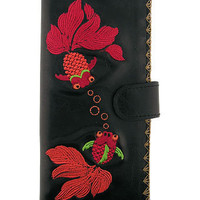 LAVISHY boutique Vegan/faux leather large wallet with goldfish embroidery