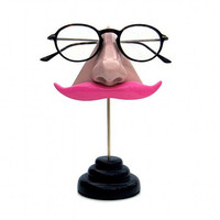 Nose Eyeglass Stand Pink Mustashe by ArtAkimbo on Etsy