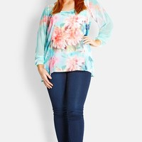 City Chic Watercolor Floral Top