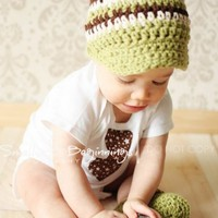 Sage Green, Chocolate Brown, Cream - Newsboy Visor Crochet Hat - Custom Size | mimisbabies - Children's on ArtFire