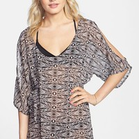 Junior Women's Volcom 'Sister Tribe' Print Sheer Cover-Up