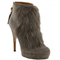 Gucci Grey Suede And Rabbit Fur Bamboo Tassel Booties