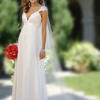 Buy Elegant Exquisite Chiffon V-Neck And Cap Sleeve Wedding Dress