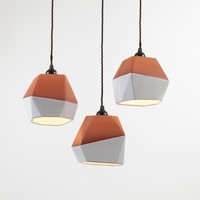 Geometric Terracotta Pendant (half-glazed set of three)
