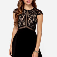 Lumier Vanity Flare Black Lace Dress