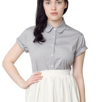 Pinpoint Oxford Round Collar Short Sleeve Button-Up Shirt | Shop American Apparel