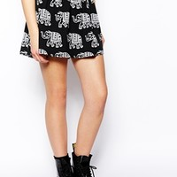 ASOS Skater Skirt In Elephant Print