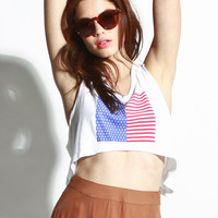wildfox couture - women's land of the free cropped tank (clean white)