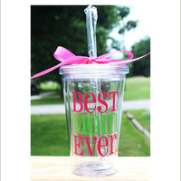 Best Mom Ever Acrylic 16oz Tumbler with Lid and Straw Mom Mother Gift Cup Accessory Mother's Day Holiday Kitchen Everything Else