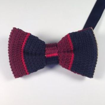 Red & Navy Blue Knit Bow Tie