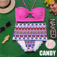 Candy - Retro Vintage Pin Up Handmade Pink Tribal Aztec Cut Out Bandeau High Waist Bikini Swimsuit Swimwear