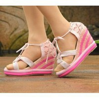 Wholesale Sweet sunshine style color matching sandals CZ-0791 pink - Lovely Fashion