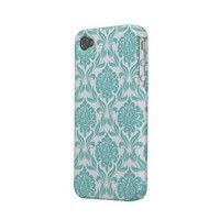 Aqua Damask Pattern Case-mate Iphone 4 Cases from Zazzle.com