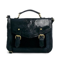ASOS | ASOS Leather Satchel Bag With Floral Punch Out at ASOS