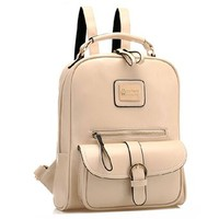 Metal Buckle Top Handle Tote Handbag School Bag Backpack