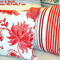 Tropical red pillow – Hawaiian modern vintage 18x18 cover
