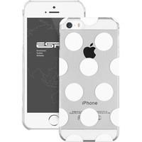 ESR the Beat Series Polka Dots Patterns Hard Clear Back Cover Snap on Case for iPhone 5 / 5s (Clear)