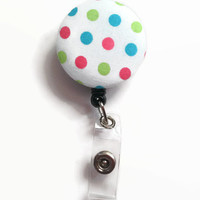 Fabric Covered Retractable Badge Reel Bright Polka Dot Keychain Lanyard