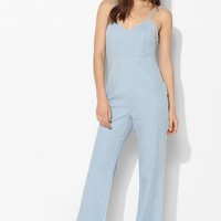 BDG Chambray Deep V-Back Chambray Jumpsuit - Urban Outfitters