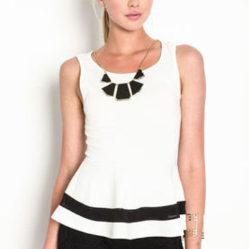 Sheer Mesh Band Peplum Top - LoveCulture