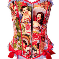 Las Senoritas Charras Pin Up corset by kawaiiparlor on Etsy