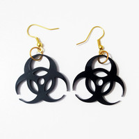 Black Biohazard Earrings Free Shipping Grey Bio Hazard Earrings Laser Cut Symbol Walking Dead Zombie Dangle Halloween Jewelry