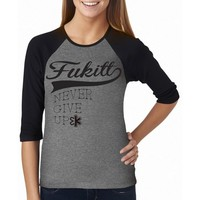 "Women's ""Faseball"" Raglan Tee by Fukitt Clothing (Black/Grey)"