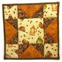 Coffee Star Quilted Hot Pad Kitchen Trivet Java Fabric Pot Holder