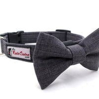 Charcoal Grey Dog Collar Made from Suiting Fabric (Dog Collar Only - Matching Bow Tie Available Separately)