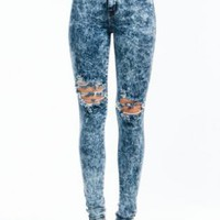 Stretch Denim Acid-washed Ripped Skinny Jeans