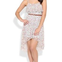 Ditsy Floral Lace High Low Dress with Ruffle Neckline