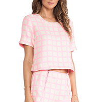 JOA Pink Checked Top in Pink