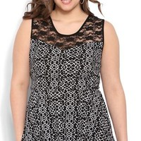 Plus Size Patterned Jacquard Peplum Tank with Illusion Lace
