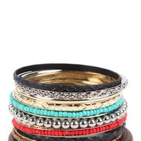 Mixed Bangles Set with Wood, Metal and Stone