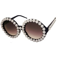 Vintage Inspired Pearl Round Fashion Circle Sunglasses