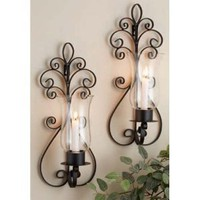 Home Essentials Set of Two (2) 17-inch Candle Holder Sconces, Large Black Metal Wall Sconces for Candles