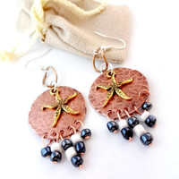 Mixed Metal Earrings, Copper Chandelier Earrings, Starfish Earrings, Nautical Jewelry