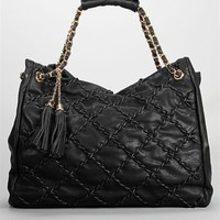 Black Chain Quilted Tote