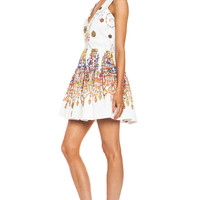 Jeweled Cotton-Blend Printed Tank Dress in White
