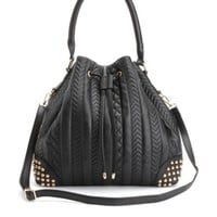 CHEVRON-QUILTED & STUDDED BUCKET BAG