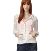 SHEER CROCHET FULL-ZIP HOODIE