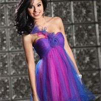 Mini short one-shoulder tulle red/blue Prom Dresses 2012 PDM312 - Wholesale cheap discount price 2012 style online for sale.