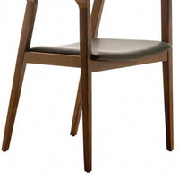 Lillian Dining Chair with Top Grain Leather and Stained Solid American Walnut or Oak - Pure Modern Design Contemporary Furniture