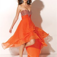 Beaded Sweetheart Neckline Asymmetrical Skirt Chiffon Prom Dresses PDM145 - Wholesale cheap discount price 2012 style online for sale.
