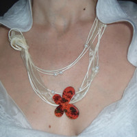 White linen necklace with ceramic Butterfly and by gioielliperte