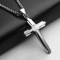CREMATION JEWELRY NECKLACE CROSS Crucifix Memorial Pendant Mens Silver Cross A04